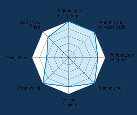 Performance on Dry Roads 5.00/5 | Performance on Wet Roads 5.00/5 | Performance on Snow 4.00/5 | Roadholding 5.00/5 | Driving Comfort 4.00/5 | Wear vs. mi 5.00/5 | Noise level 3.00/5 | Quality vs. Price 4.00/5